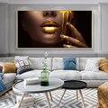 Большой SizwGolden губ современный портретный плакат печать настенный художественный холст картина Для женщин картинки для Гостиная домашний Д...