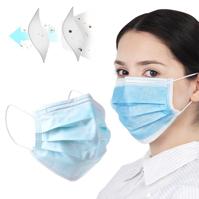 10Pcs 3 Layers Disposable Mouth Mask Non-Woven Earloop Mouth-Muffle Anti-Fog PM2.5 Protective Respirator