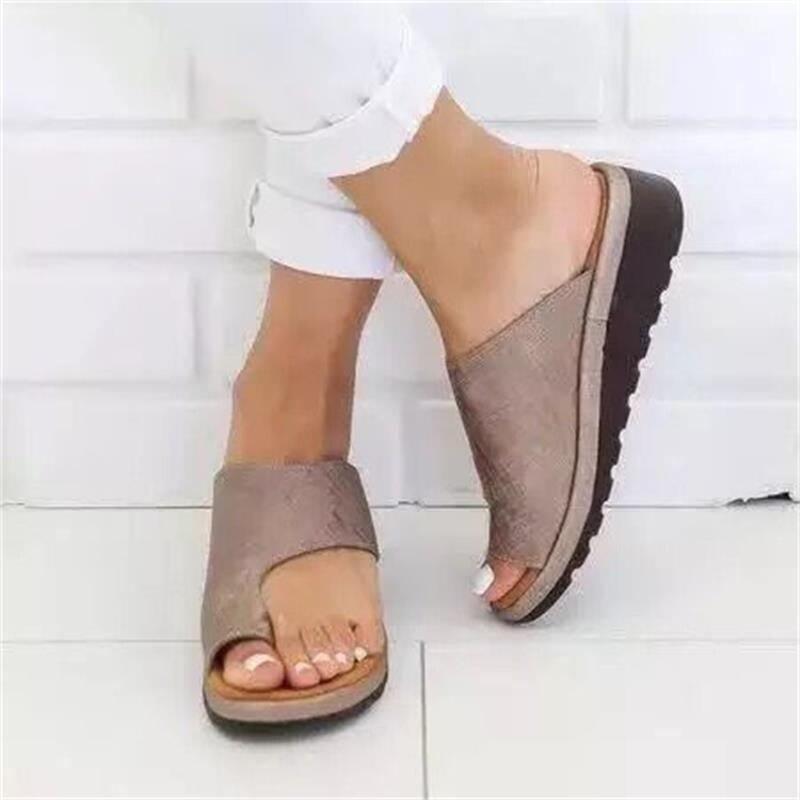 Women Sandals Comfy Plain Women Shoes Flat Platform Ladies Casual Big Toe Foot Correction Sandals Orthopedic Corrector Flip Flop