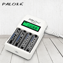 PALO Battery Charger 4 Slots LCD Display Intelligent Charger For Battery AA / AAA Ni-Cd Ni-Mh Rechargeable Batteries 12 slots intelligent fast battery charger for aa aaa ni mh ni cd rechargeable batteries use