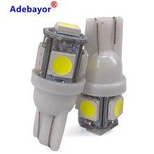 100 adet toptan T10 5 SMD 5050 W5W 194 501 LED araba otomatik temizleme iç aydınlatma işaretleyici lambaları DC 12V mavi yeşil sarı beyaz