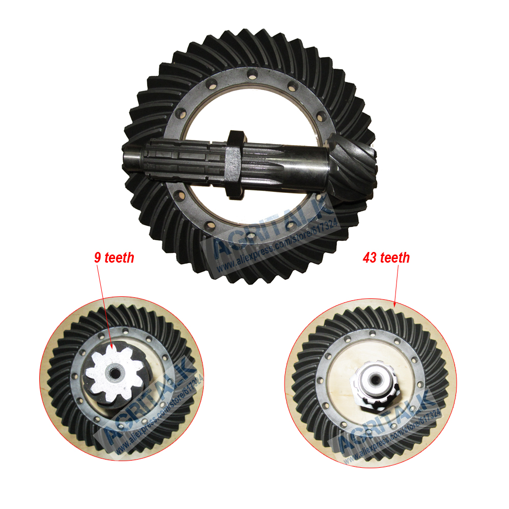 The Spiral Bevel Gear And Shaft (9 Teeth/ 43 Teeth) For Yituo X904 Tractor, Part Number: 1.32.103/5138661SZ +1.32.108/5138662SZ
