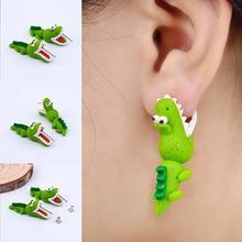 цена на 1 Pair of Earrings Women/Stud Earrings Girl Cute Cartoon Polymer Clay Green Crocodile Handmade Earrings/Women Piercing  Jewelry
