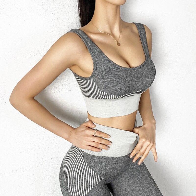 Спортивный комплект из 2 предметов бюстгальтер на бретелях с высокой талией бесшовные спортивные штаны для фитнеса обтягивающие бедра штан...