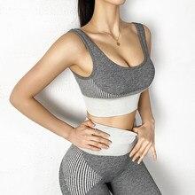 Esportes 2 peças conjunto halter sutiã cintura alta sem costura esportes calças de fitness hip-levantamento apertado yoga calças