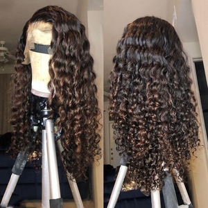 Image 1 - Brown Honey Blonde Ombre Human Hair Wigs 180 Density Highlight Water Wave 360 Lace Frontal Remy Wigs For Black Women Pre Plucked