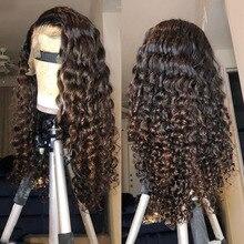 Pelucas de cabello humano Marrón rubio miel degradado densidad del 180 resaltado ondas al agua 360 encaje Frontal Remy pelucas para mujeres negras prearrancadas