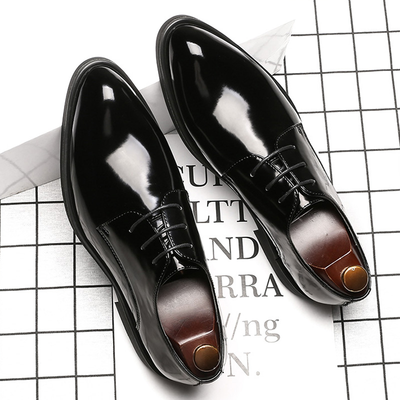 Men's New Pointed Leather Shoes Business Dress Shoes Men Mirror Paint Leather Formal Shoes Lace-Up Classic Black EU Size 38-44