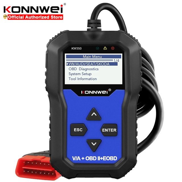Konnwei KW350 Car Diagnostic Scanner Support For VW for Audi / For Skoda / For Seat  Airbag SRS ABS Brake Oil Reset EBP