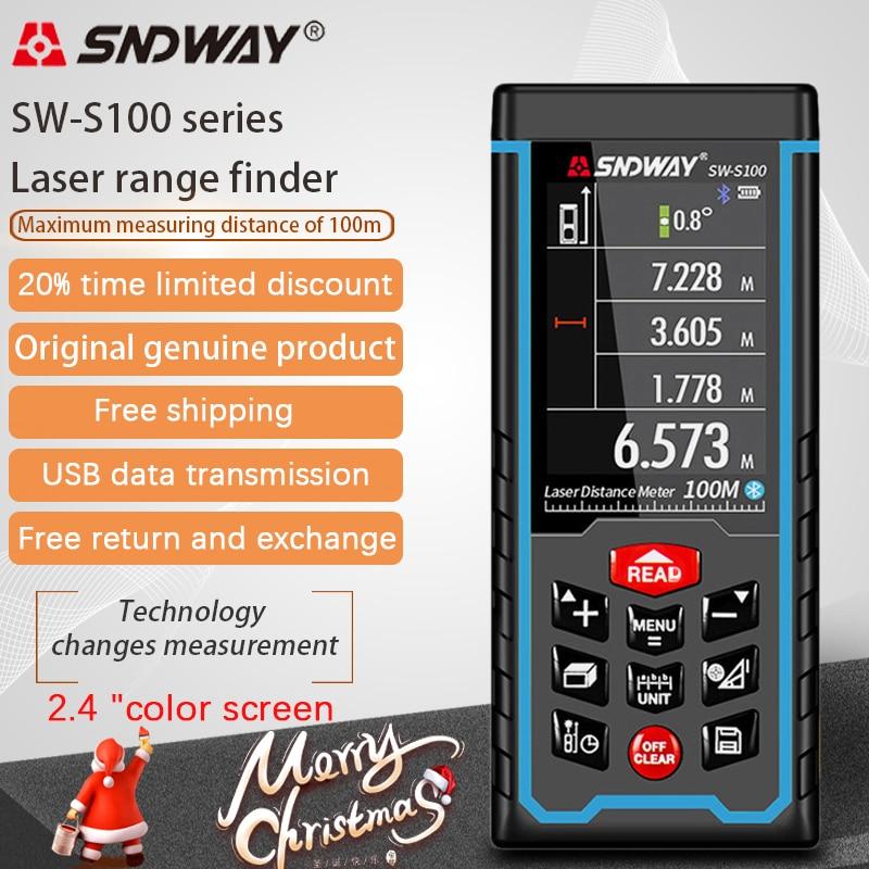 Sndway laser rangefinder medidor de distância 40m 50m 70m 100m 120m roleta eletrônica digital trena laser fita medida range finder