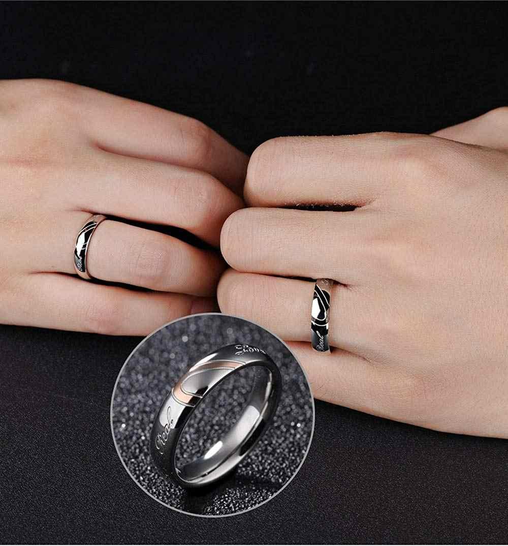 Bijoux Crwico son et son coeur en acier inoxydable forme ensemble correspondant couple d'amour réel bande de mariage (une paire)