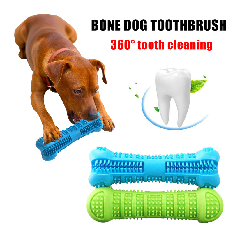Bone Shape Silicone Pets Dog Toothbrush Chew Toys Puppy Teeth Cleaning Small Dog Mouth Teeth Care Products Petshop Popular Toys