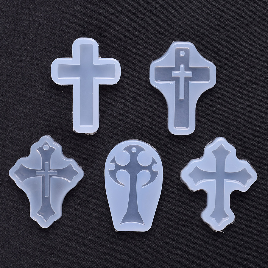 Hollow Latin Cross Mold Christian Jewelry Making Cross Pendant Mold Resin Jewellery Mold  Halloween Decoden Supplies