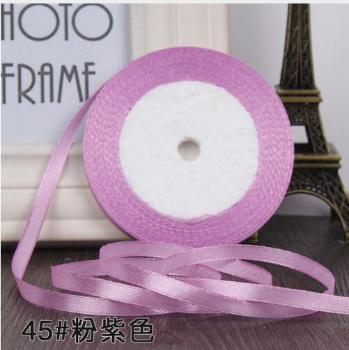 """22 метра(25 ярдов) Шелковая атласная лента 1/""""(6 мм) вечерние украшения для дома, свадьбы, подарочная упаковка, материал для рукоделия на Рождество, год - Цвет: pink purple"""