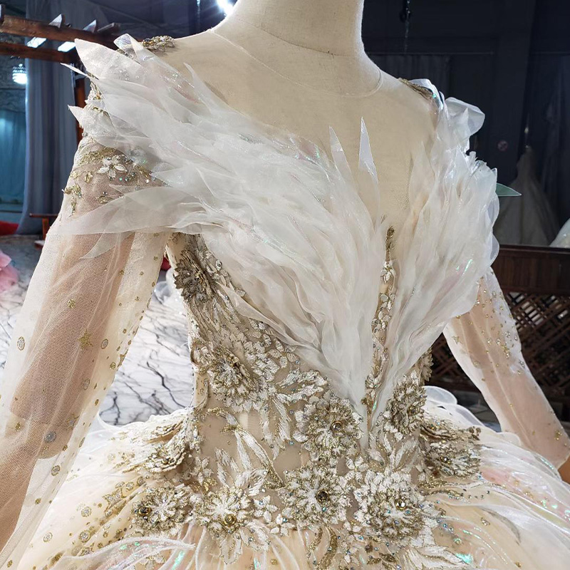HTL1837 Luxurious Sequined Beading Wedding Dress 2020 V-Neck Three Quarters Sleeve Applique Ball Gowns Crystal 5