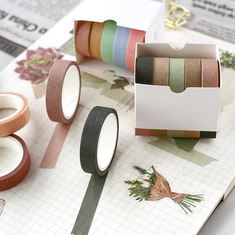 5 Pcs/lot 5M Simple Decorative Paper Green Pink Purple Washi Tape Set Japanese Stationery Kawaii Scrapbooking Supplies Stickers