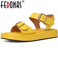 Fedonas clássico mulher falt sapatos de couro genuíno do punk sapatos plataforma mulher 2021 fivelas verão senhora do escritório sandálias casuais