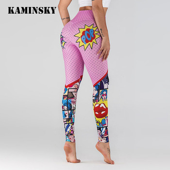Kamisnky Women Cartoon Printing Leggings Women Workout Leggings High Waist Leggins Mujer Push Up Fitness Jeggings Femme Pants image