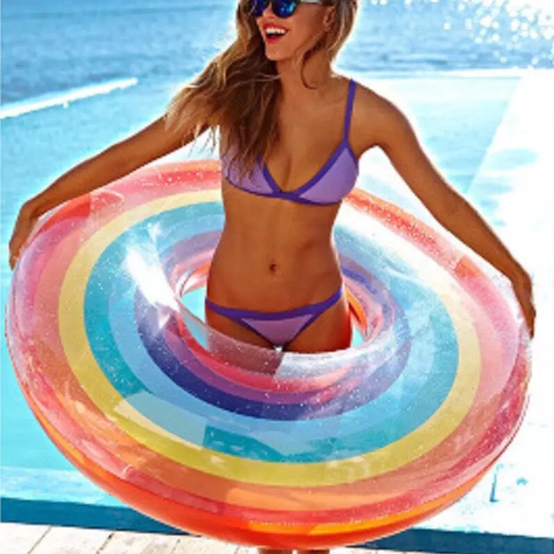 Rainbow Inflatable Circle With Handled Float Pool Swimming Ring For Adult Kids Women Floating Bed Pool Party Toys