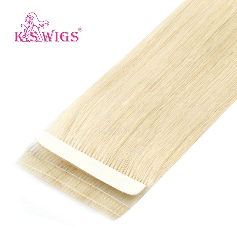 K.S WIGS 10pcs Remy Seamless Skin Weft Human Hair Double Drawn Love Line Tape On Hair Extensions  16'' 20'' 24''