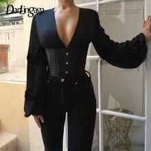 Darlingaga v ネックエレガントなフックレースアップシャツ女性コルセットスプライスファッションパーティービスチェトップブラウスシャツスリムボディコン