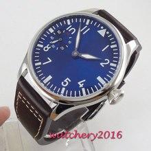 new fashion 44mm Blue Sterile pilot 17 Jewels Luminous 6497 Hands winding moveme
