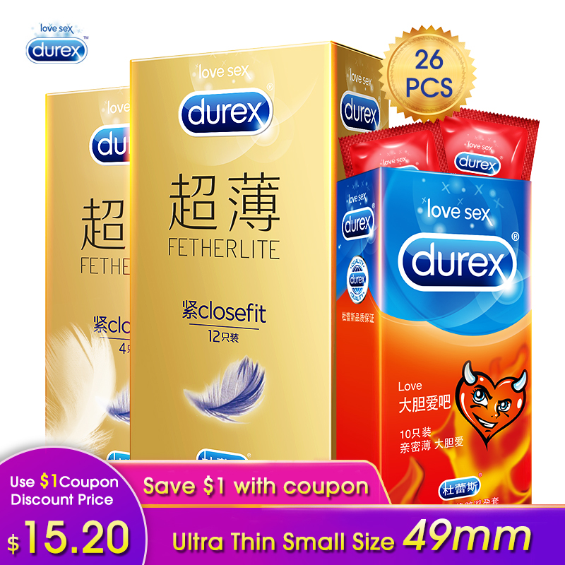 Durex Small Condoms Size 49mm Ultra-thin Smooth Extra Lubricants Condom Penis Sleeve Adult Erotic Products Sex Toys for Men