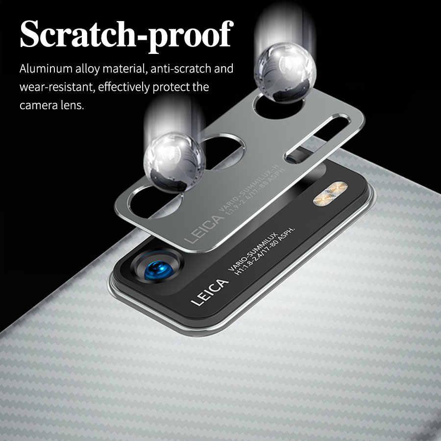 3 In1 Serat Karbon Kembali Pelindung Layar Stiker Logam Cincin Perlindungan Kamera Pelindung untuk Huawei P40 Pro P40 Lite Nova 7I Case