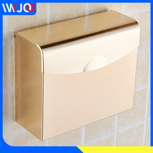 Toilet Paper Holder with Shelf Gold Aluminum Roll Tissue Storage Box Waterproof Towel Dispenser Wall Mounted