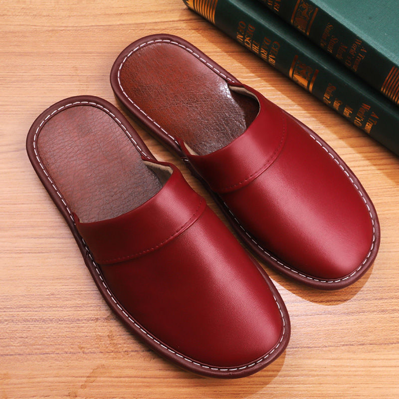 2020 Fashion PU leather slippers for couple concise indoor shoes women casual mules female house slippers