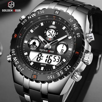 GOLDENHOUR Men Sport Watches Analog Digital Dual Display Man Fashion Outdoor Military Black Rubber Wristwatch Luminous Clock 1