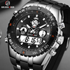 GOLDENHOUR Men Sport Watches Analog Digital Dual Display Man Fashion Outdoor Military Black Rubber Wristwatch Luminous Clock