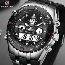 GOLDENHOUR erkekler spor saatler Analog dijital çift ekran erkek moda açık askeri siyah kauçuk kol saati aydınlık saat