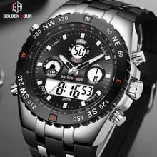 GOLDENHOUR montre bracelet de Sport pour hommes, analogique numérique double affichage, mode militaire dextérieur, horloge lumineuse, noire