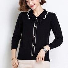 Ljsxls outono turn-down colarinho camisola de malha laço laço mulher solta pullovers 2020 moda inverno roupas femininas alta qualidade