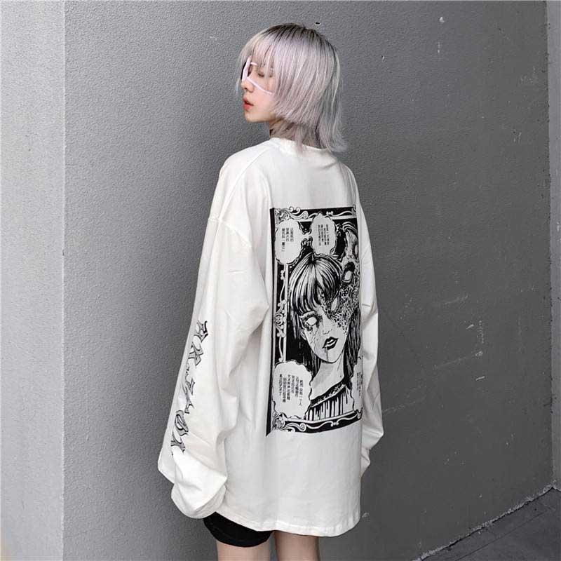 Camiseta de impressão de personagens do punk do japonês das camisas de t do pulôver de harajuku da rua