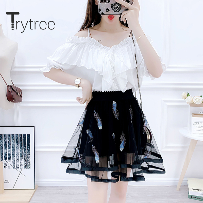 Trytree Summer Two Piece Set Casual Ruffles Strapless Solid Elegant Top + Skirt Mesh Embroidery Print Fashion Set 2 Piece Set