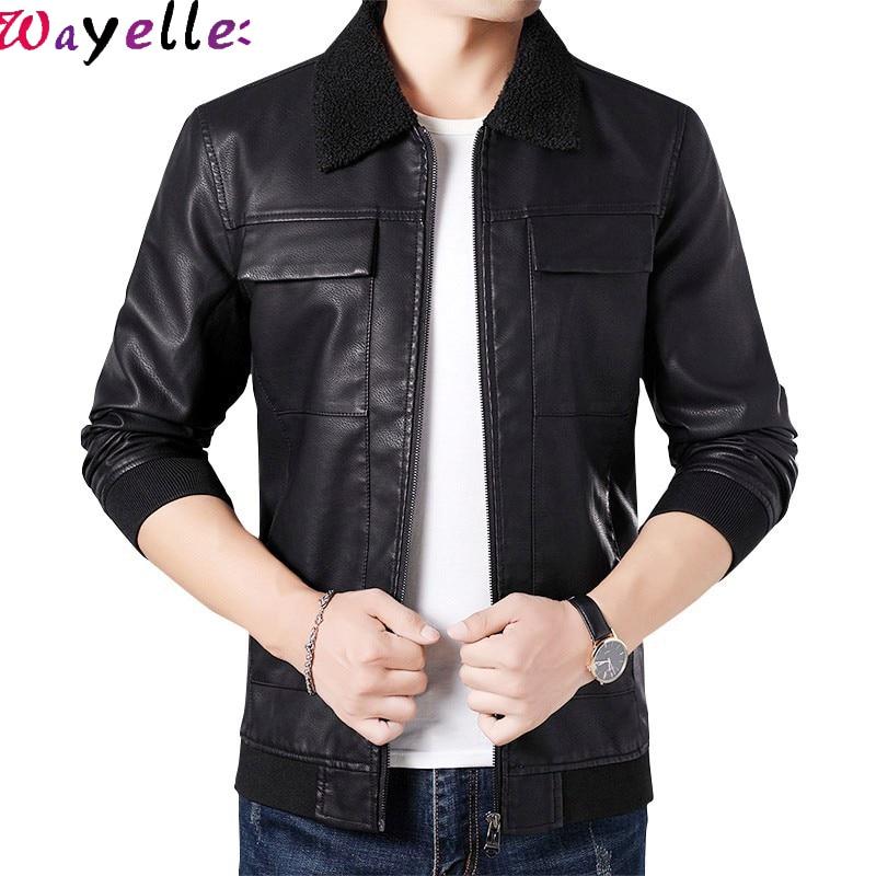 Leather Jacket Men Soft PU Business Casual Fashion Fleece Collar Motorcycle Coat Plus Size 4XL