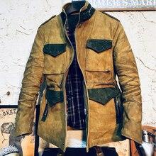Men's Hunting Jacket M65 Field Jacket Oil Wax Canvas Splice