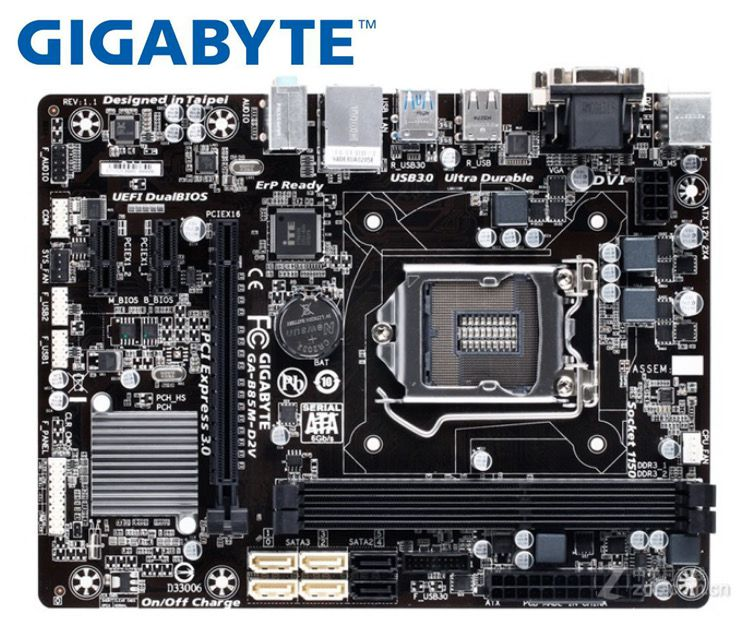 Carte mère de bureau GIGABYTE GA-B85M-D2V B85 Socket LGA 1150 i3 i5 i7 DDR3 16G micro-atx UEFI BIOS Original utilisé carte mère PC
