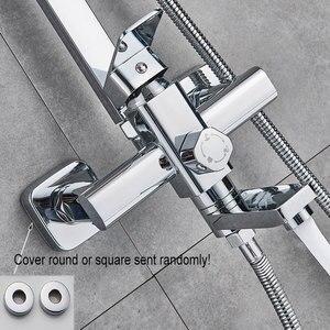 Image 4 - Chrom polerowany zestaw prysznicowy końcówka prysznica ABS i rączka prysznica czarny Facet dwa rodzaje kształtu System prysznicowy gorący mieszacz zimnej kran do wanny