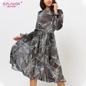 S.FLAVOR Autumn Women Print Chiffon Dress Winter Fashion Flare Sleeve O Neck A Line Party Vestidos Elegant Knee Length Dress
