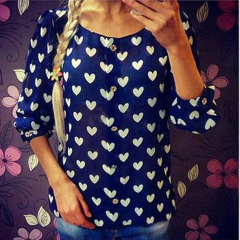 2020 Women's Blouse New Fashion Summer Temperament Round Neck Single-breasted Casual Love Pattern Chiffon Blouse Size S-XL red round neck flared sleeves blouse