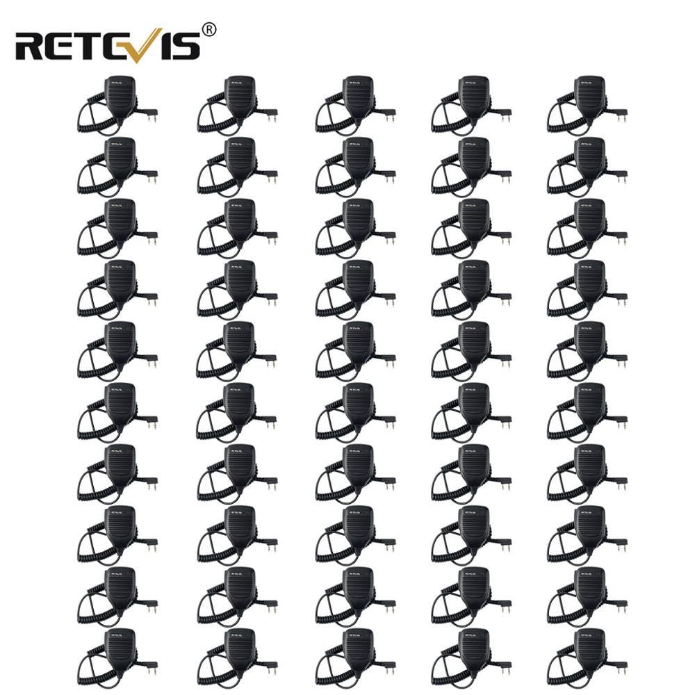 50pcs Walkie Talkie Speaker Microphone Side PTT For Kenwood Retevis RT21 RT22 H777 RT81 Baofeng UV5R 888S For Puxing For HYT TYT
