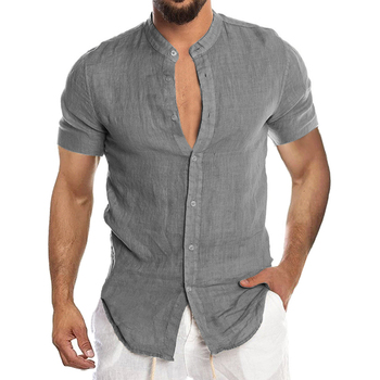 Men's New Summer Casual Cotton Linen Short Sleeve Button Down Shirt For Man Casual Shirts Cotton Shirts Long Sleeve Men Print Shirts Shirts & Tops Slim Fit Summer Shirts T-Shirts Work Shirts cb5feb1b7314637725a2e7: short blue|short green|Short-Army Green|Short-Beige|Short-Black|Short-Gray|Short-Light Green|Short-Pink|Short-Red|Short-Sky Blue|Short-White|Short-Yellow