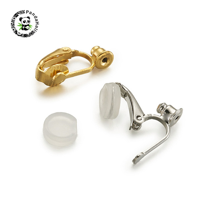 Square plastic ear clips with golden beads