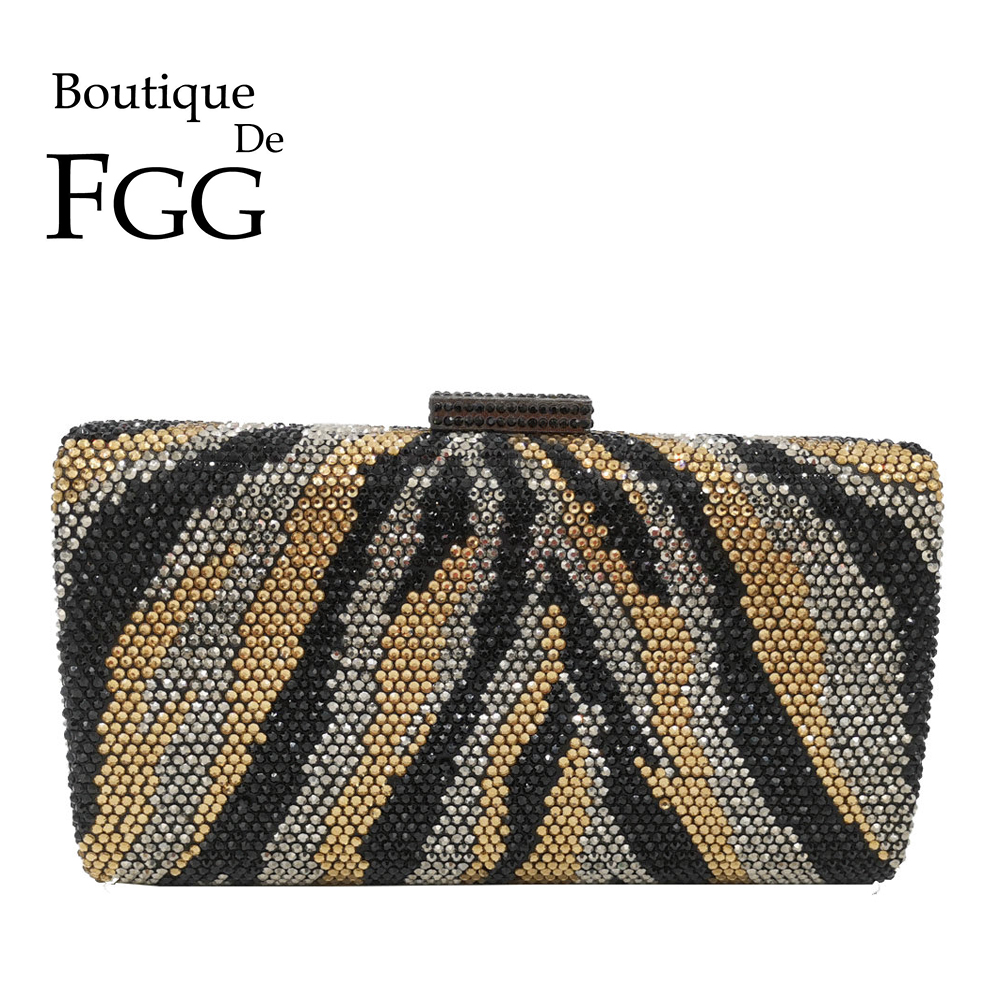 Boutique De FGG Animals Zebra Pattern Women Crystal Evening Clutch Bags Ladies Cocktail Party Rhinestones Purses And Handbags