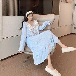 Image 4 - ナイトガウン女性のレースのパッチワーク正方形の襟甘いエレガントな王女のプリントかわいいヴィンテージシックなシンプルなフレアスリーブ