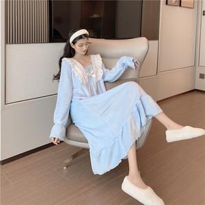 Image 4 - Nachthemden Frauen Spitze Patchwork Quadrat Kragen Süße Elegante Prinzessin Lose Lange Gedruckt Nette Vintage Chic Einfache Flare Hülse