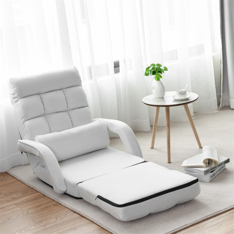 Folding Lazy Floor Chair Sofa Armrests And Pillow Living Room Sofa Bed Detachable Cushion Seat Adjustable Lounge Sofa HW56730